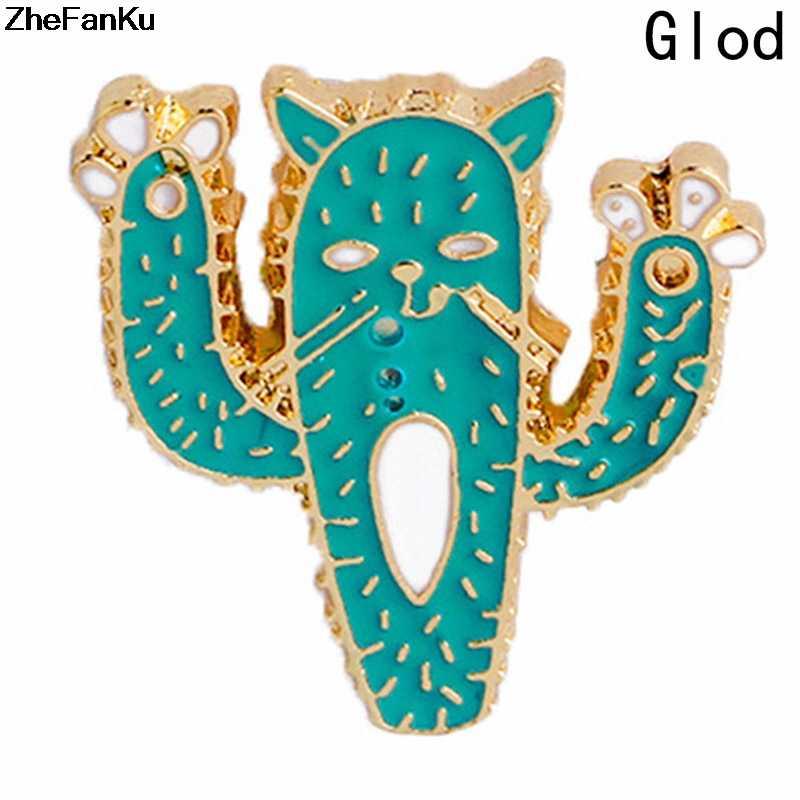 Broche de chat à motifs de Cactus, dessin animé, drôle, broche de chat, épingles à boutons, T-shirt à revers, bijoux à la mode