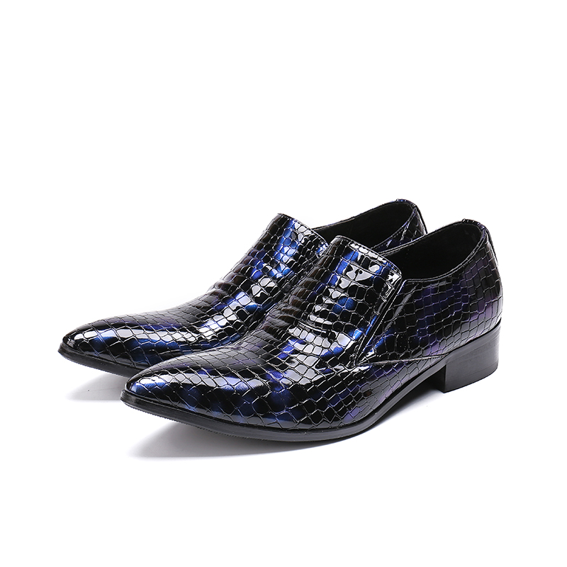 Sapato Masculino Men Formal Shoes Leather Blue Red Dress Wedding Slip On Loafers Genuine Leather Snake Skin Oxford Plus Size13 Good Heat Preservation Shoes