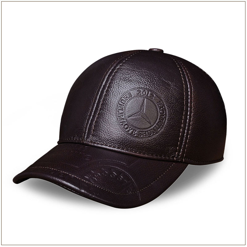 Genuine Leather Embossed Mens Baseball Cap - Angle View