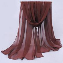 cachecol sale winter 2019 solid color georgette silk chiffon plain women design long snapback polyester scarves headband cs