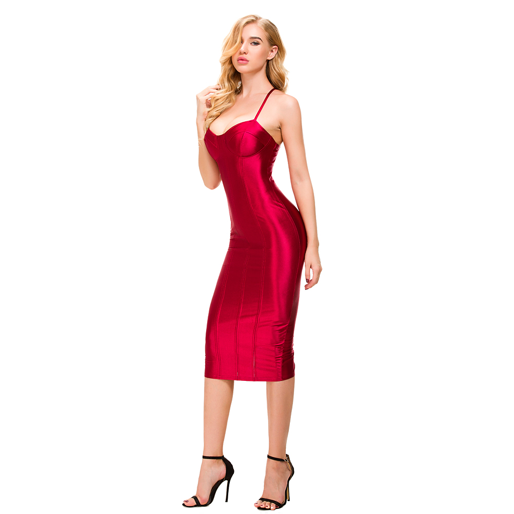 Sexy Bodycon Shiny Satin Padded Midi Dresses Party Dress -4061