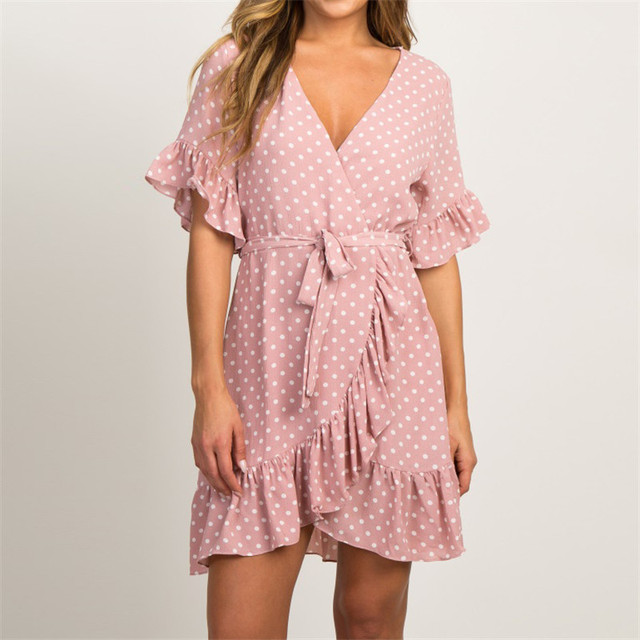 U-SWEAR Summer Chiffon Dress Boho Style Beach Dress Fashion Short Sleeve V-neck Polka Dot A-line Party Dress Sundress Vestidos
