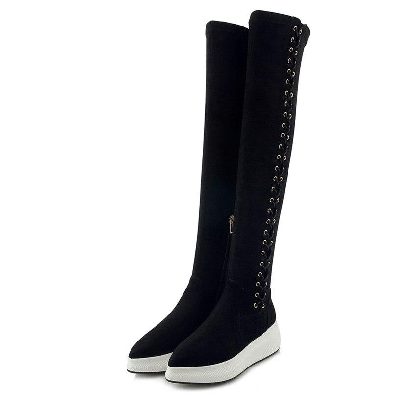 1 Genou Nouvelles Sur Conasco formes Plates Hiver Sexy Haut Chaussures 2019 Bottes noir Femme Lady Le Automne Cuissardes Femmes B0qxTqCw