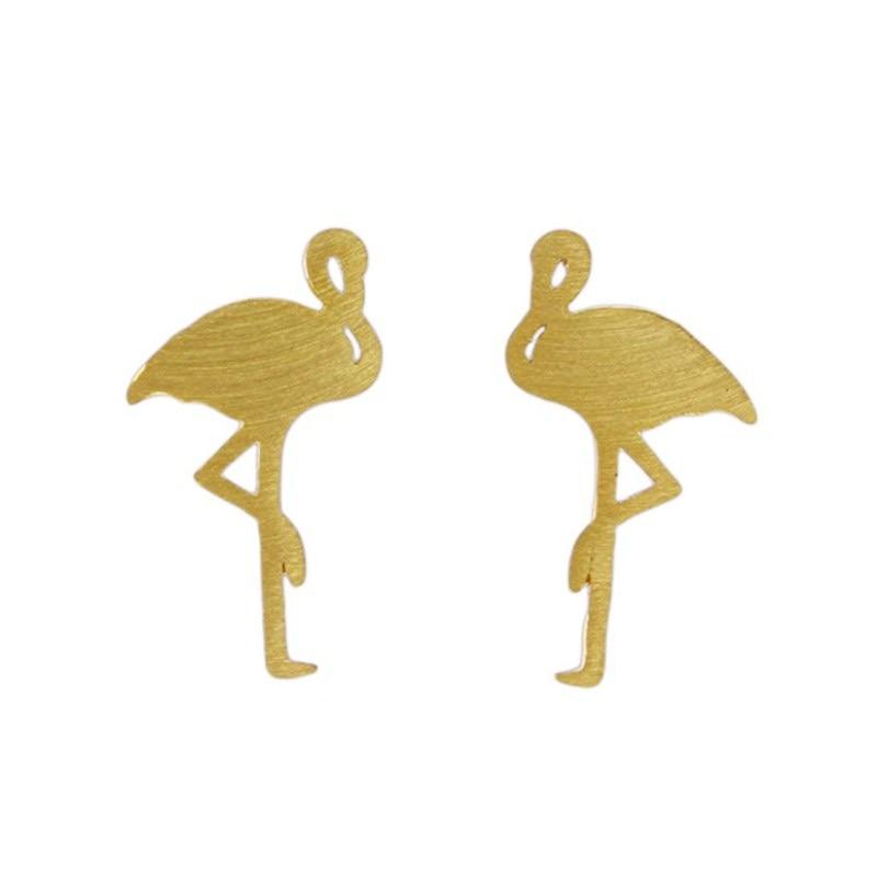 Women Jewelry Brincos Fashion Handmade Beautiful Animal Bird Flamingo Stud Earrings Female Girl Jewelry Gift Birthday Party