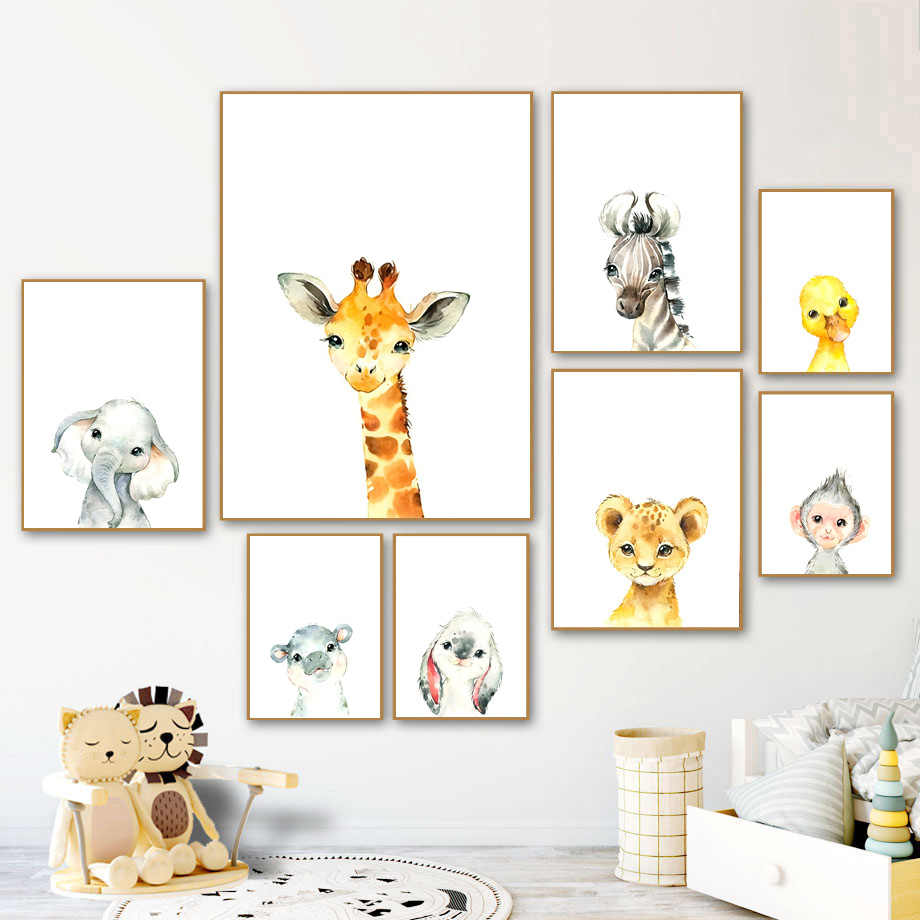 Lion elephant giraffe hippo zebra poster wall art painting wall picture baby children room decoration canvas painting A364