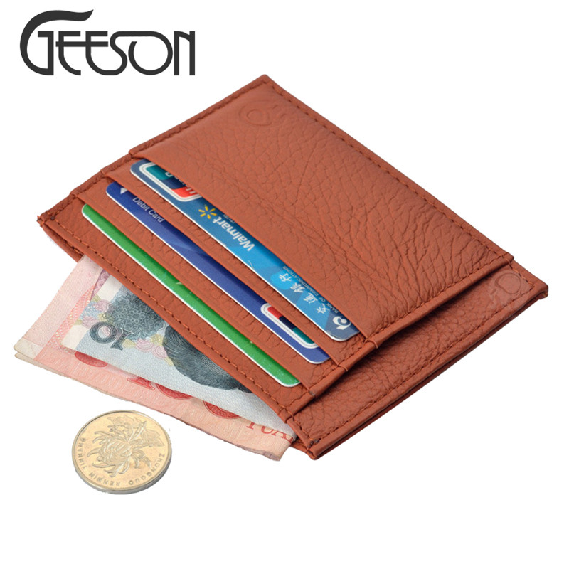 Super thin card holder wallet genuine leather mens small purse super thin card holder wallet genuine leather mens small purse business card holder money pocket mini bag porte carte kw351 in card id holders from reheart Choice Image