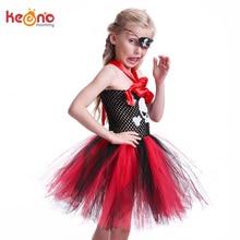 Skull Pattern Girls Pirate Tutu Dress with Mask Kids Halloween Cosplay Party Costume Black Red Handmade Children Dress цена