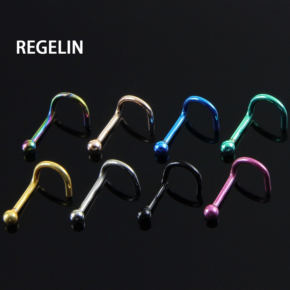 REGELIN 10pcs/lot Women Pircings Nariz Titanium Hoop Nose Rings Clip On Ear Lip Navel Body Piercing Fake Percing Nez Jewelry