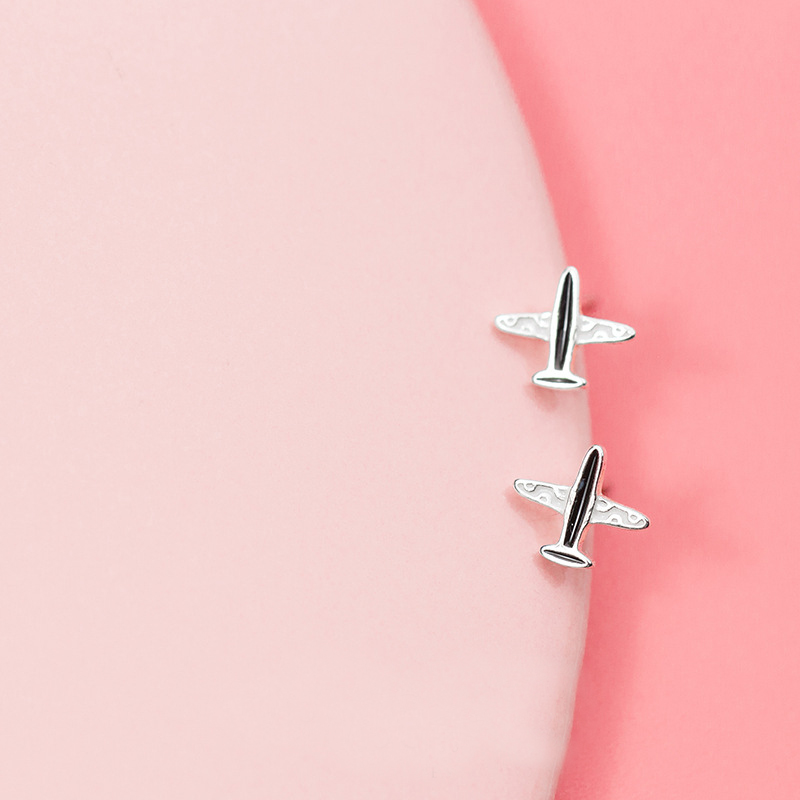 MloveAcc Genuine 925 Sterling Silver Airplane Stud Earrings Girls Lady Enamel Plane Shape Earrings for Women image