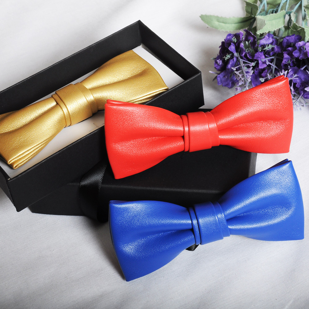 Lower Price with 2018 Hot Men Fashion Solid Pu Leather Bowtie Prom Wedding Holiday Party Bow Tie Casual Male Suits Cravats Skinny Slim Butterfly Low Price