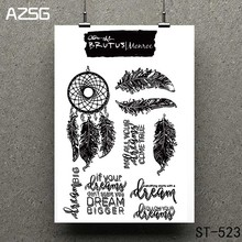 AZSG Feather art Clear Stamps/seal for DIY Scrapbooking/Card Making/Photo Album Decoration Supplies warm fireplace clear stamps seal for diy scrapbooking card making photo album decoration supplies