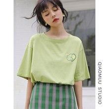 Fresh Avocado Print Harajuku T Shirt Women Casual 100% Cotton Clothes 2019 Plus Size 90s Korean