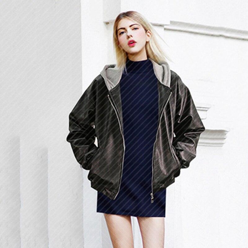 Vestes Coupe Leather Cuir Taille À En 2018 Pour Black Printemps 4xl Veste Femmes La Pu Plus Grande Capuche Noir Vintage Jacket vent Femelle Bomber ZBxKpwKdAq