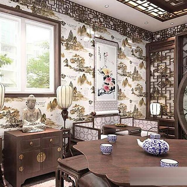 3D PVC Klassieke Chinese Landschapsschilderkunst Foto Behang ...