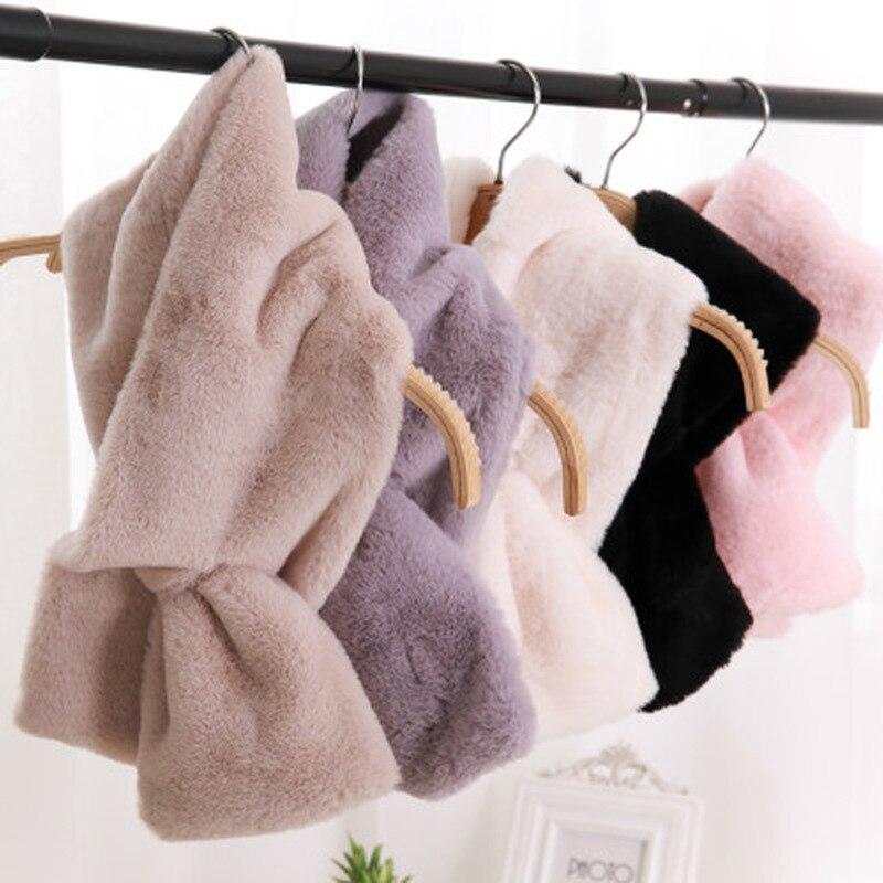4 colors 15CM*95CM Faux Fur Collar Winter   Scarf   Women faux Knitted Rex Rabbit Fur   Scarves   Fur Neckerchief Winter Long   Wraps   2019