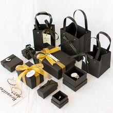 1pc חג המולד באיכות גבוהה שחור מתוק gif תיבת האהוב האהבה יום נייר מתנת תיק Creative חתונה תכשיטי תיבה אריזה