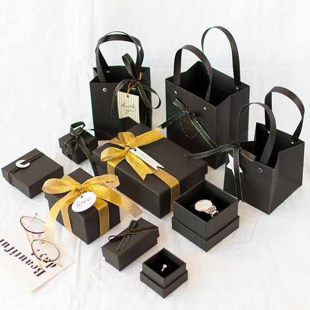 1pc 크리스마스 고품질 검은 달콤한 gif 상자 사랑하는 발렌타인 데이 종이 선물 가방 크리 에이 티브 웨딩 보석 상자 포장