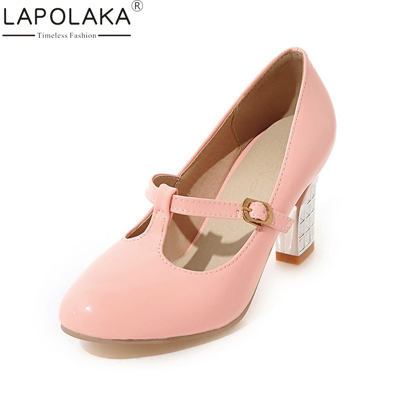 LAPOLAKA Spring Autumn Fashion Sweet Women Mary Janes Pumps Big Size 31-43 Shallow High Metal Heels Shoes Woman siketu 2017 free shipping spring and autumn women shoes sex high heels shoes wedding shoes sweet lovely pumps g126