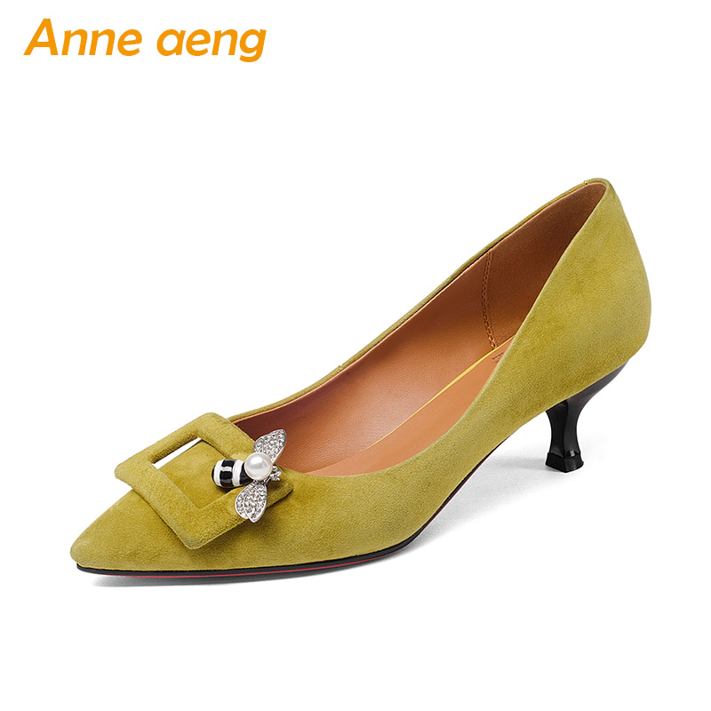 New Spring Autumn Genuine Leather Women Pumps Middle Heels Sheepskin Upper Pointed Toe Sexy Leadies Women