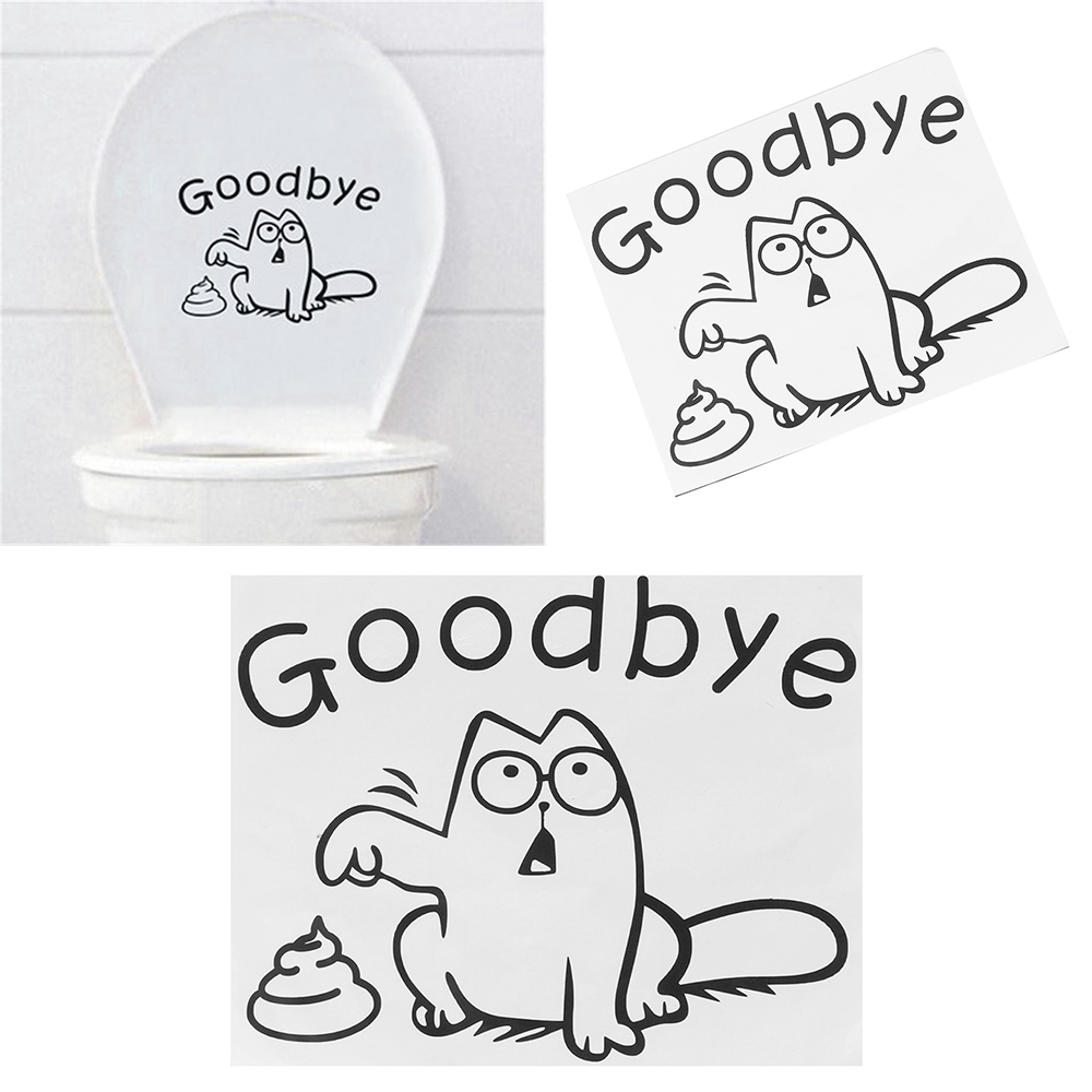 Removable Toilet Bathroom Sticker Decorative Vinyl Wall Decal Funny Cat Toilet Seat Wall Decal Goodbye Potbellied Stickers
