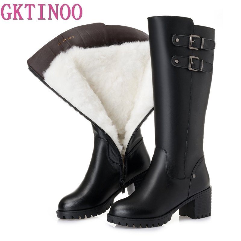 GKTINOO Fashion Genuine Leather Boots High Heels Women Boots Platform Female Winter Shoes Woman Thick Wool Warm Snow Boots GKTINOO Fashion Genuine Leather Boots High Heels Women Boots Platform Female Winter Shoes Woman Thick Wool Warm Snow Boots