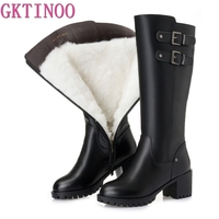 GKTINOO Fashion Genuine Leather Boots High Heels Women Boots Platform Female Winter Shoes Woman Thick Wool Warm Snow Boots