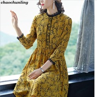 2018 Spring And Summer Female Printing Temperament Chiffon Dress European And American Lady Lace O Neck