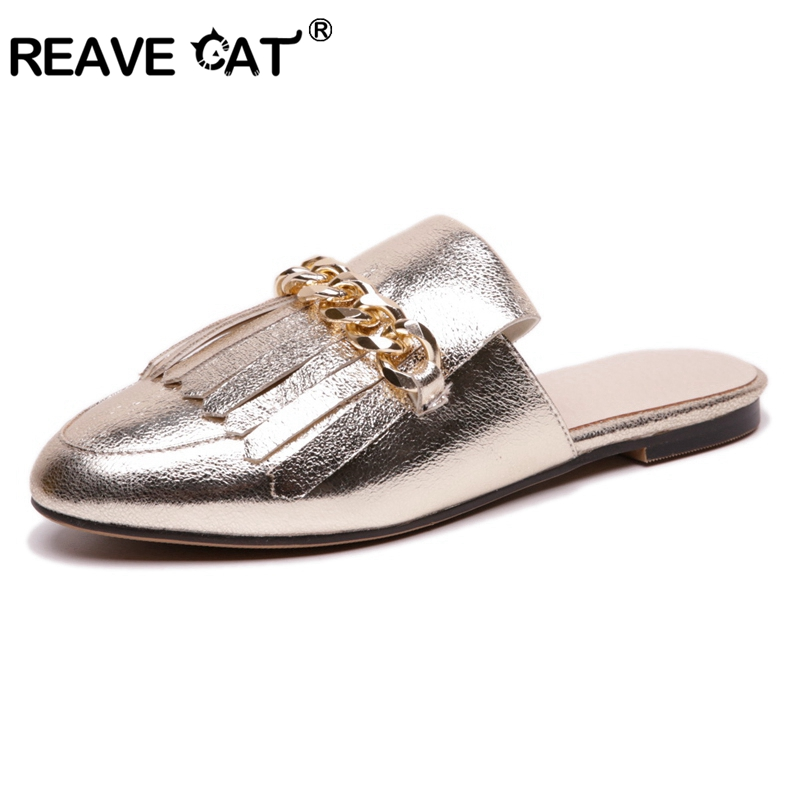 REAVE CAT Shoes woman Summer flats Ladies sandals Chain Outside shoes Square heel Slides Big size Black Gold Silver Fashion New