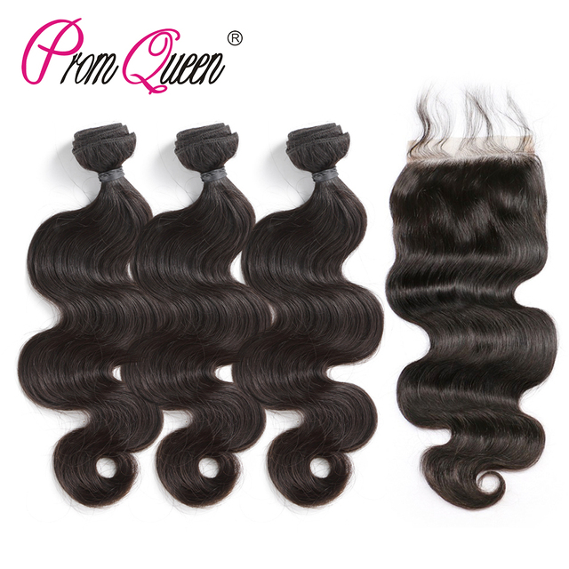 Promqueen Brazilian Remy Hair Weave Human Hair Bundles With Closure Body Wave 3 Bundles With Lace Closure Remy Hair Extension