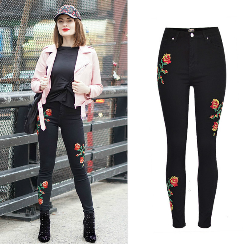 все цены на High Waist Slim Cross Stitch Embroidery Jeans Women Black Elasticity Skinny Jeans Femme Europe America Push Up Flower Trousers онлайн