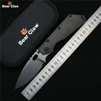 Bear Claw SMF Folding Knife D2 Blade Carbon Fiber Titanium Handle Copper Washer Kitchen Outdoors Utility