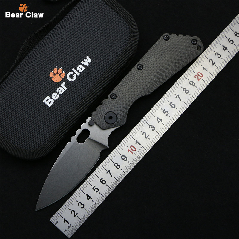 Bear claw SMF Folding Knife D2 blade Carbon fiber Titanium handle Copper washer kitchen outdoors utility fruit Knives EDC Tools bear claw smf folding knife copper gaskets s35vn blade g10 titanium handle outdoor gear tactical camp hunt knives edc tools