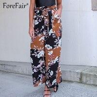 Forefair 2018 Spring Fashion High Waist Wide Leg Pants Female Casual Boho Print Beach Long Pants Tie Dye Trouser For Women