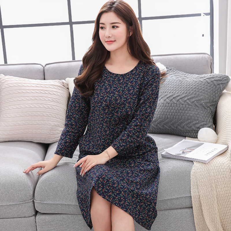 Tinyear cotton night dress women sleeping lingerie cotton long sleeve plus size floral   nightgowns     sleepshirts