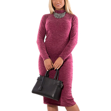 5XL 6XL Plus Size 2017 Autumn Winter Women Dresses Big Size Casual High Neck Long Sleeve