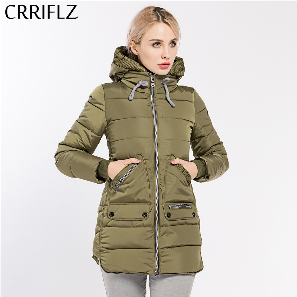 CRRIFLZ New Winter Collection Hot Women's   Parka   Hooded Warm Jacket Fashion Brand High Quality Thick Plus Size Outwear Coat