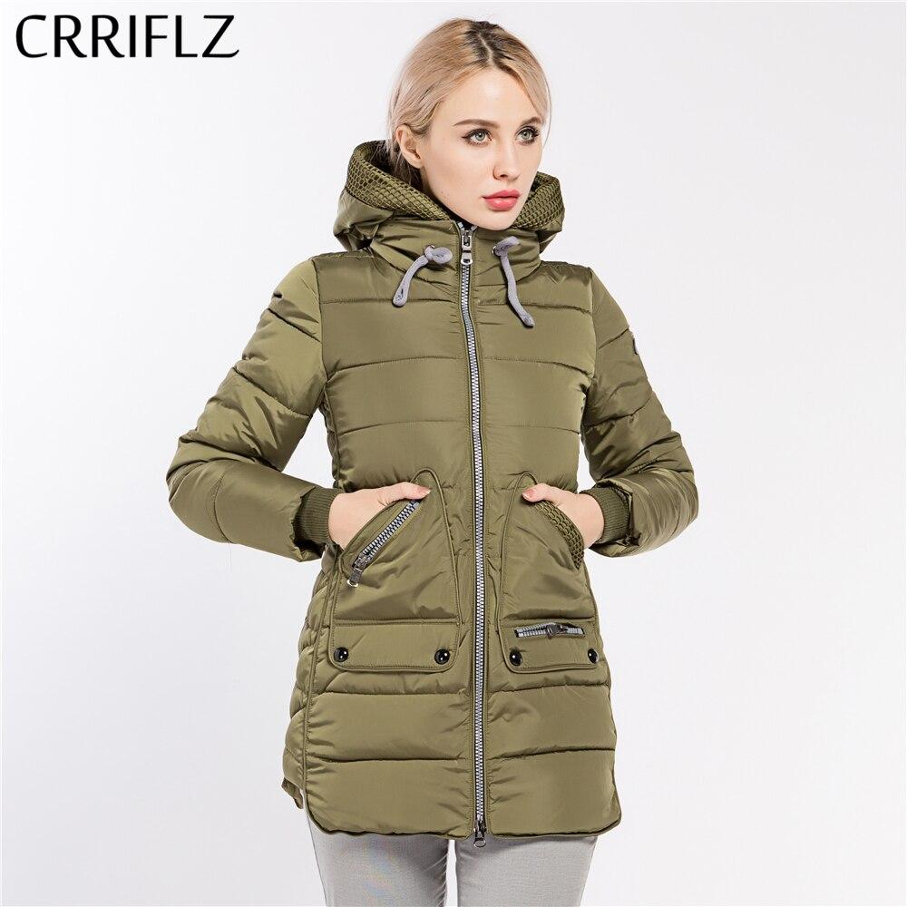 CRRIFLZ Nova Coleção de Inverno Quente Parka Casaco Quente Com Capuz Marca de Moda de Alta Qualidade das Mulheres Plus Size Grosso Outwear Casaco