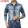LONMMY Denim shirts camisa masculina mens floral shirts Long Sleeve jeans shirt men Cowboy Casual clothes Flower Print 2016 New