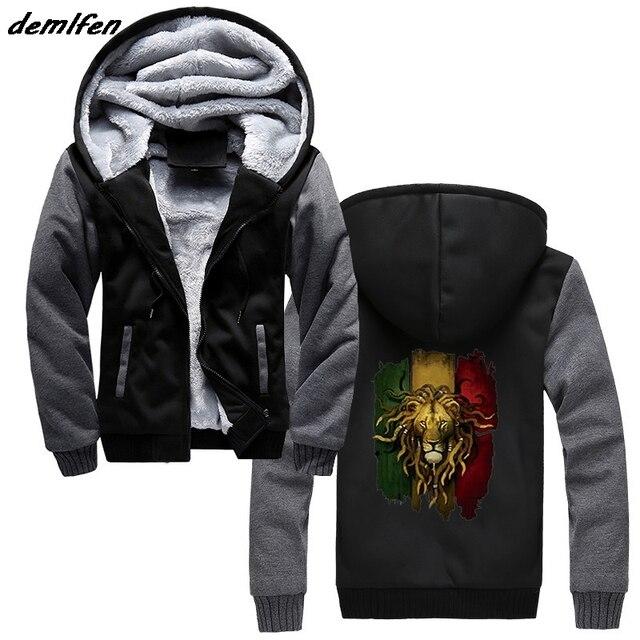 6a183e8666e6e León Animal impresión Hoodie hombres cremallera gruesa sudadera moda Casual Hip  Hop Harajuku Streetwear