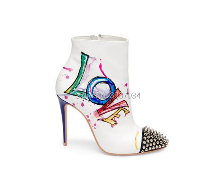 Chaussures color Cheville Talons Rivets Shooegle Zip color color Gravures Bottes 2 Hauts 4 Embelli Femmes Automne Color D'amour 2018 1 Toe Hiver Graffiti 3 Botas qPa1IP8wW