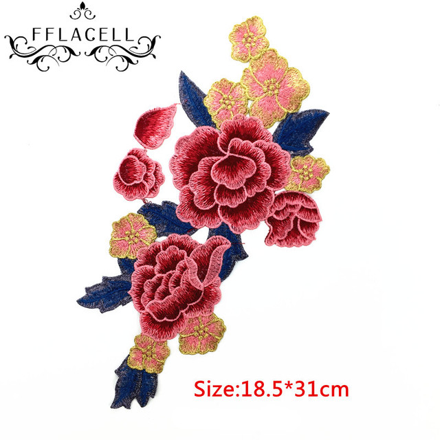 Fflacell 10pcs peony flower floral collar sew on patch cute applique badge embroidered fabric sticker clothes