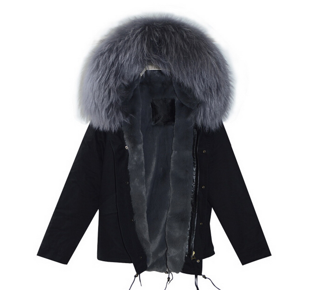 16eba246304c 2016 fashion black cotton parka with grey faux fur lined and real raccoon fur  trimmed parka for women-in Faux Fur from Women s Clothing on Aliexpress.com  ...