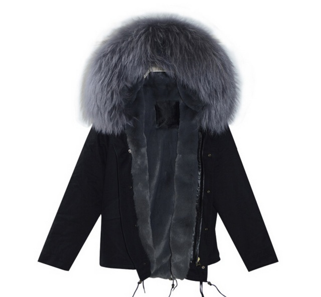 2016 fashion black cotton parka with grey faux fur lined and real ...