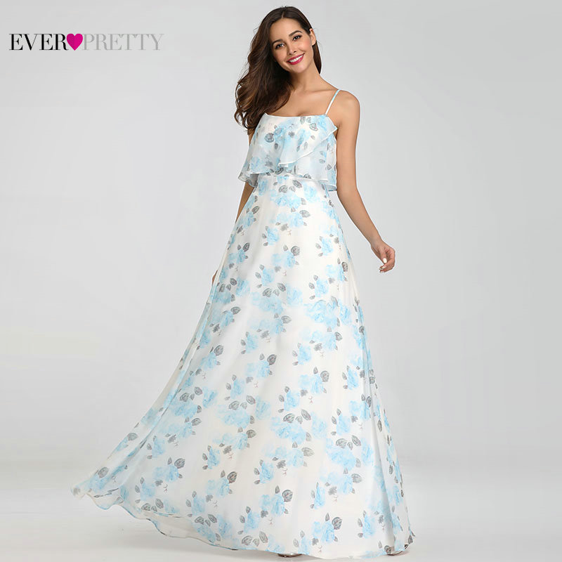 Beach Style Flower Printed Bridesmaid Dresses 2018 Ever Pretty EP07236PK Spaghetti Straps Chiffon Simple Women Holiday Dress