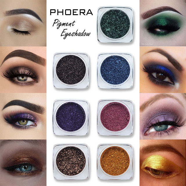 PHOERA Metallic Diamond Single Color Payoff Shimmer Eyeshadow Makeup Palette Glitters Powder Eye Shadow Pigmented Smoky Eyelids 2