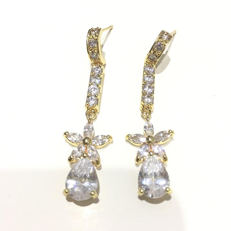 De Lujo Boda Nupcial Gota Colgantes Pendientes de Plata Cristal Pendientes Joyería Regalos
