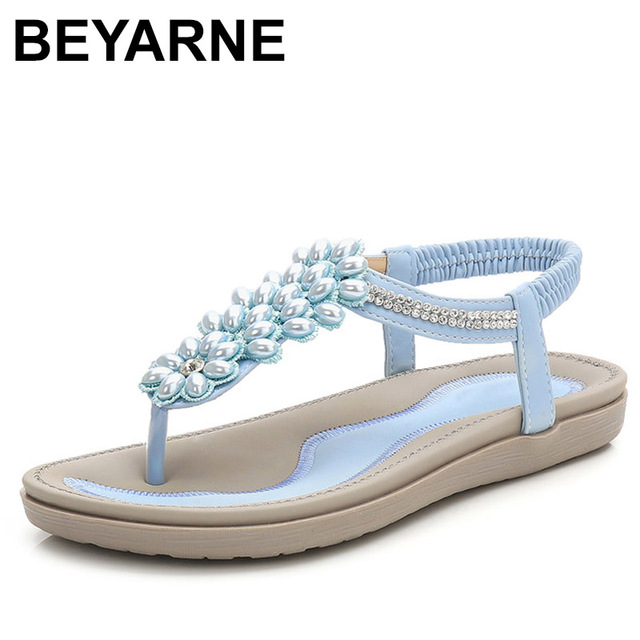 Beyarnesファッション女性ビーチサンダルビーズ女性teenslippers女性の夏の靴通気性の快適なsandalen