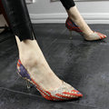 US 4-9 Spring Summer Sexy Ladies Woven Pointed Toe Thin Heel Woman Night Club Heels OL Office Knit High Heel Shoes