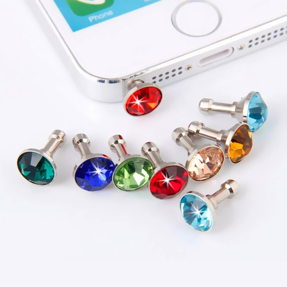 10pcs Bling Diamond Dust Plug Universal 3.5mm Cell Phone Earphone Plug For iPhone 6 5s Samsung HTC Sony Headphone Jack Stopper