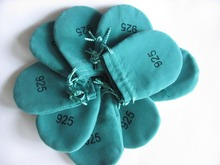 20pcs/pack $7.2 Green 925 Logo Gift Pouches 65CM P2 for Jewelry Best Quality free shipping